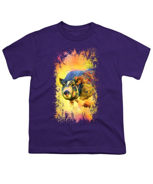 Jazzy Pig Colorful Animal Art By Jai Johnson Youth T-Shirt