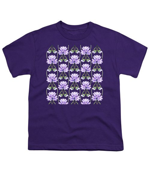 Purple Flowers Hearts Pattern Youth T-Shirt