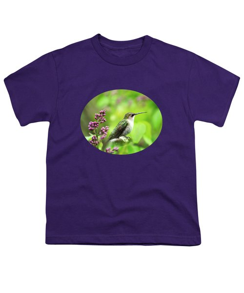 Spring Beauty Ruby Throat Hummingbird Youth T-Shirt by Christina Rollo