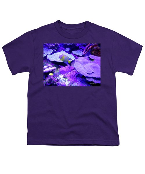 Youth T-Shirt featuring the photograph Ta Purple Coral And Fish by Francesca Mackenney