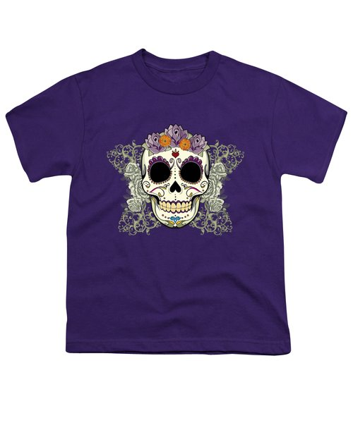 Vintage Sugar Skull And Flowers Youth T-Shirt by Tammy Wetzel