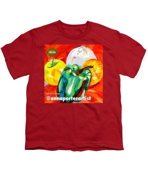 Apple, Onions And Pepper A Digital Edit Youth T-Shirt by Anna Porter