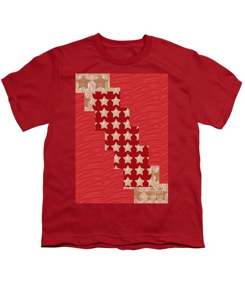 Cross Through Sparkle Stars On Red Silken Base Youth T-Shirt