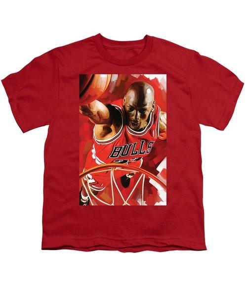 Michael Jordan Artwork 3 Youth T-Shirt by Sheraz A