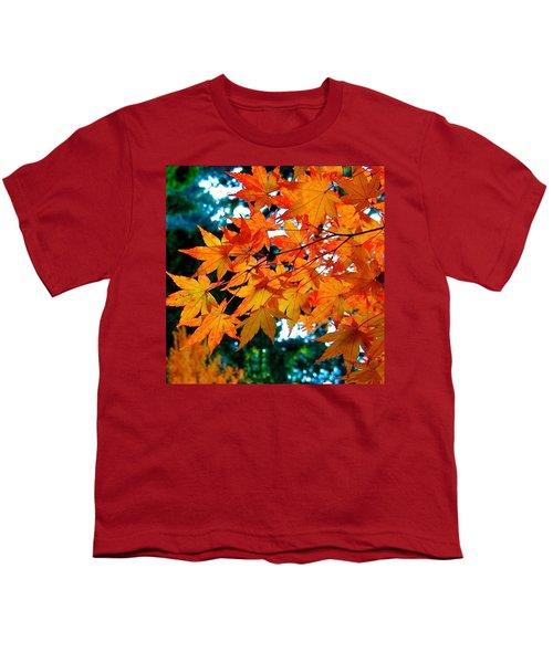 Orange Maple Leaves Youth T-Shirt