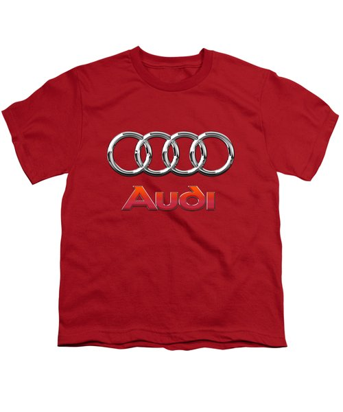 Audi - 3d Badge On Red Youth T-Shirt by Serge Averbukh
