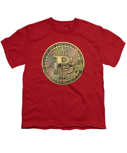 Gold Bitcoin Effigy Over Red Canvas Youth T-Shirt