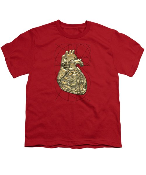 Heart Of Gold - Golden Human Heart On Red Canvas Youth T-Shirt by Serge Averbukh