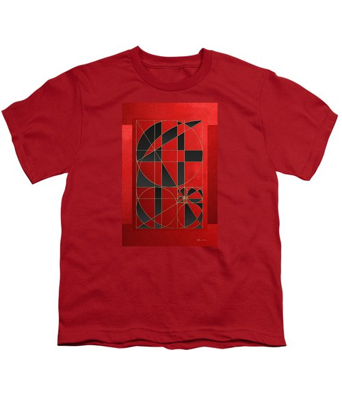 The Alchemy - Divine Proportions - Black On Red Youth T-Shirt by Serge Averbukh