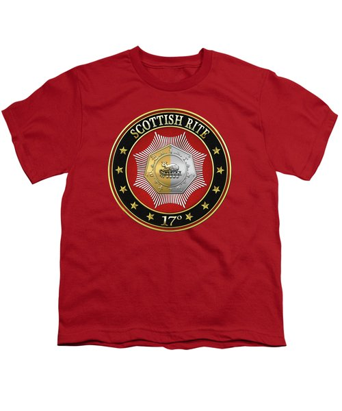 17th Degree - Knight Of The East And West Jewel On Red Leather Youth T-Shirt by Serge Averbukh