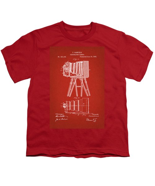1885 Camera Us Patent Invention Drawing - Red Youth T-Shirt