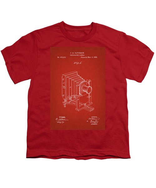 1888 Camera Us Patent Invention Drawing - Red Youth T-Shirt