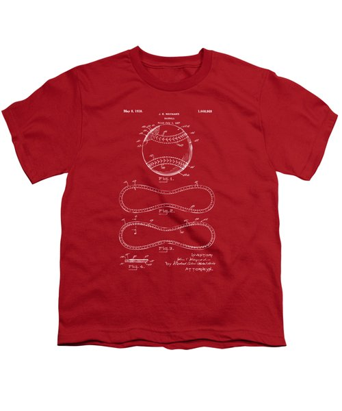 1928 Baseball Patent Artwork Red Youth T-Shirt by Nikki Marie Smith