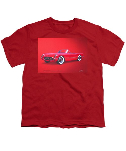 1953 Corvette Classic Vintage Sports Car Automotive Art Youth T-Shirt by John Samsen