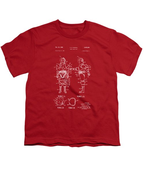 1968 Hard Space Suit Patent Artwork - Red Youth T-Shirt by Nikki Marie Smith