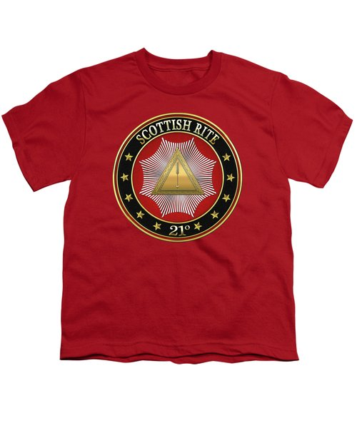 21st Degree - Noachite Or Prussian Knight Jewel On Red Leather Youth T-Shirt