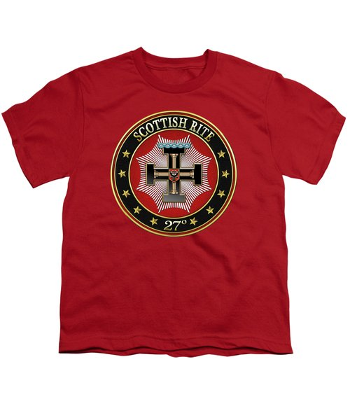 27th Degree - Knight Of The Sun Or Prince Adept Jewel On Red Leather Youth T-Shirt