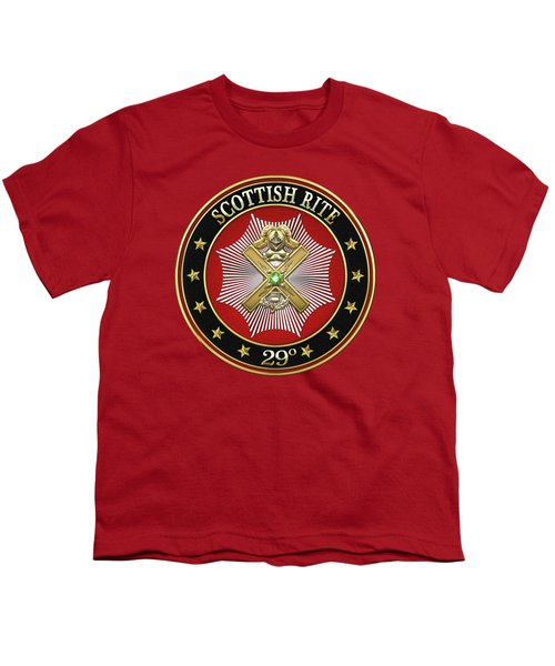 29th Degree - Scottish Knight Of Saint Andrew Jewel On Red Leather Youth T-Shirt by Serge Averbukh