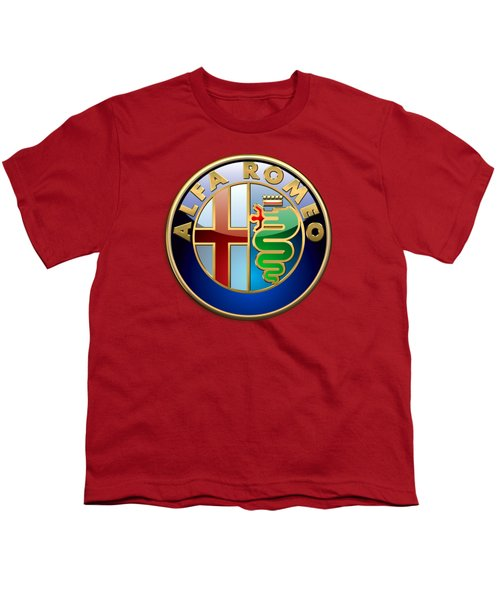Alfa Romeo - 3d Badge On Red Youth T-Shirt by Serge Averbukh