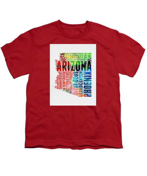 Arizona Watercolor Word Cloud Map  Youth T-Shirt by Naxart Studio
