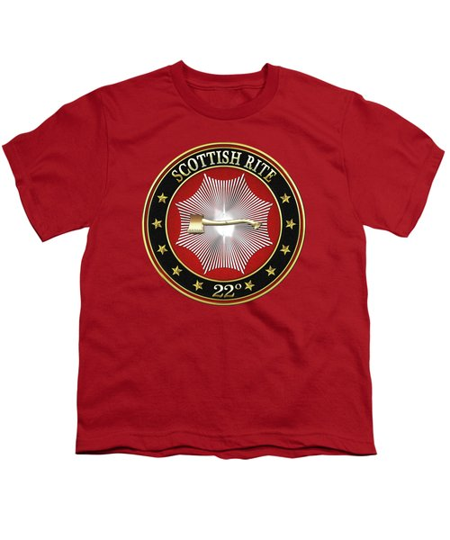 22nd Degree - Knight Of The Royal Axe Jewel On Red Leather Youth T-Shirt by Serge Averbukh