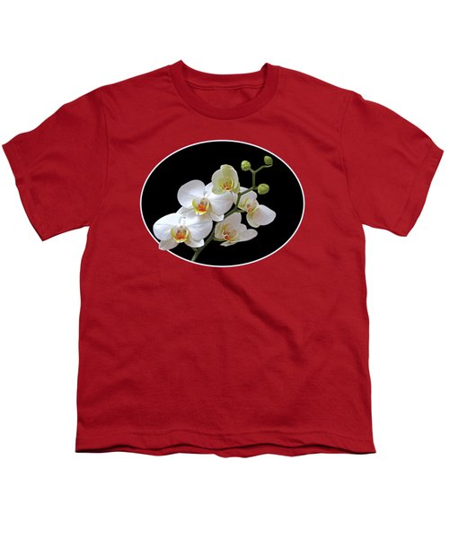 Orchids On Black And Red Youth T-Shirt by Gill Billington