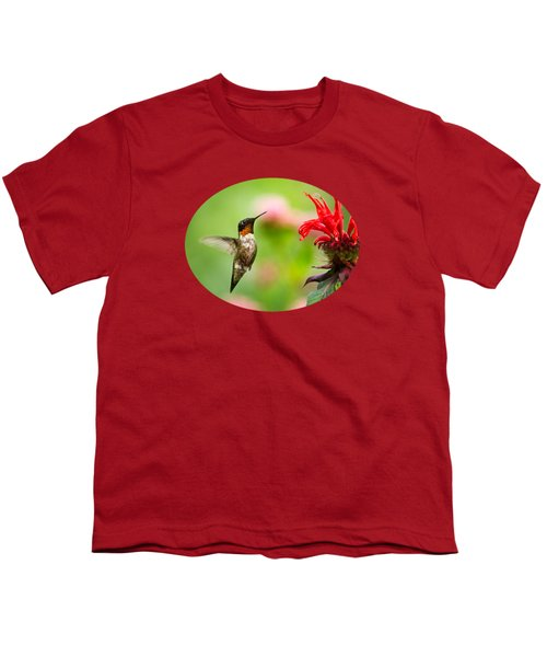 Male Ruby-throated Hummingbird Hovering Near Flowers Youth T-Shirt by Christina Rollo