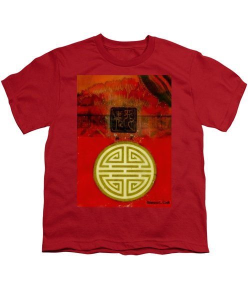 Asian Red Encaustic Youth T-Shirt by Bellesouth Studio