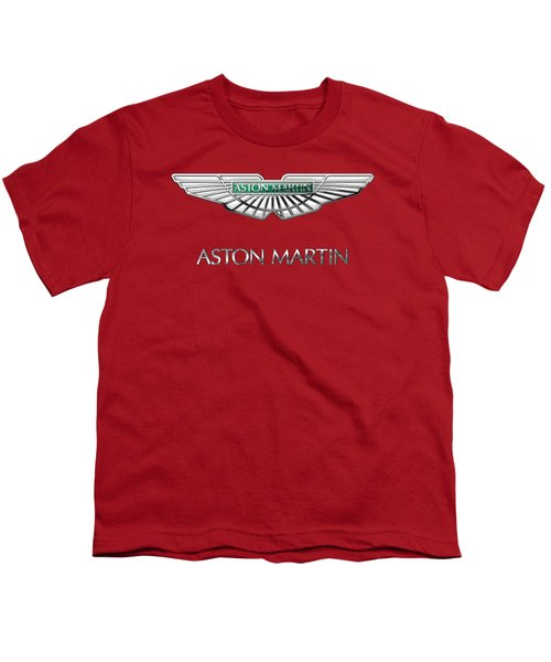 Aston Martin - 3 D Badge On Red Youth T-Shirt by Serge Averbukh