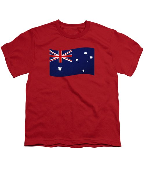 Australian Flag Waving Png By Kaye Menner Youth T-Shirt by Kaye Menner
