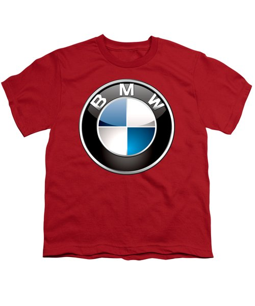 B M W Badge On Red  Youth T-Shirt