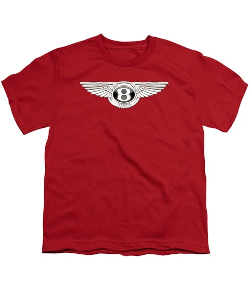 Bentley 3 D Badge On Red Youth T-Shirt by Serge Averbukh