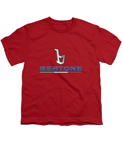 Bertone 3 D Badge On Red Youth T-Shirt by Serge Averbukh