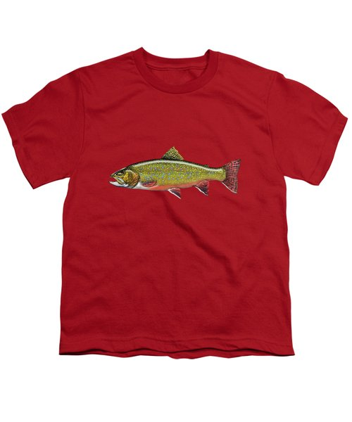 Brook Trout On Red Leather Youth T-Shirt by Serge Averbukh
