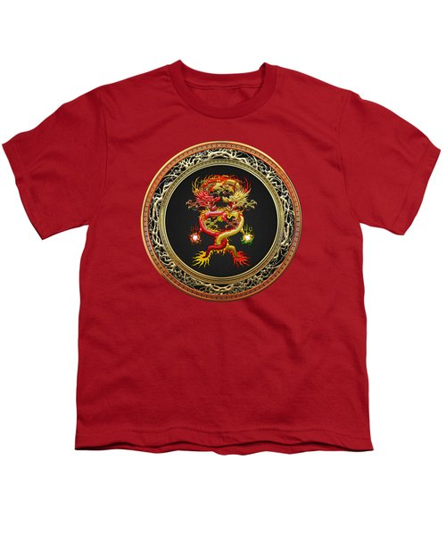Brotherhood Of The Snake - The Red And The Yellow Dragons On Red Velvet Youth T-Shirt by Serge Averbukh