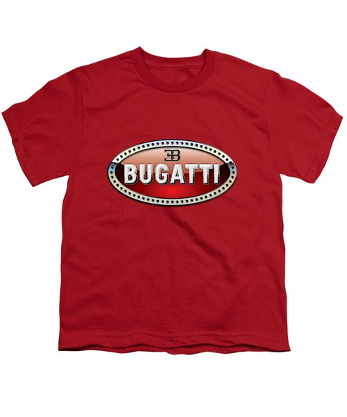 Bugatti - 3 D Badge On Red Youth T-Shirt
