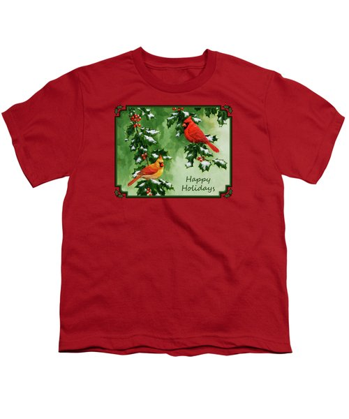 Cardinals Holiday Card - Version With Snow Youth T-Shirt by Crista Forest