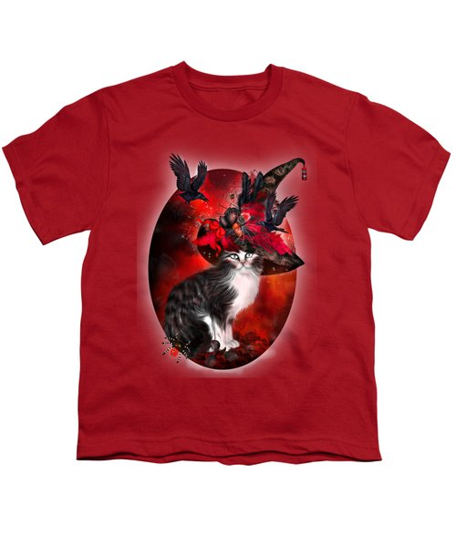 Cat In Fancy Witch Hat 1 Youth T-Shirt