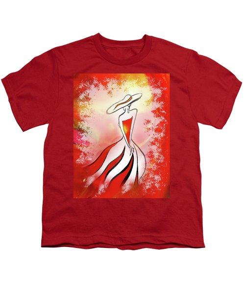 Charming Lady In Red Youth T-Shirt by Irina Sztukowski