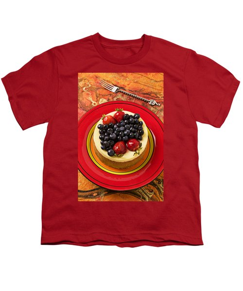 Cheesecake On Red Plate Youth T-Shirt by Garry Gay