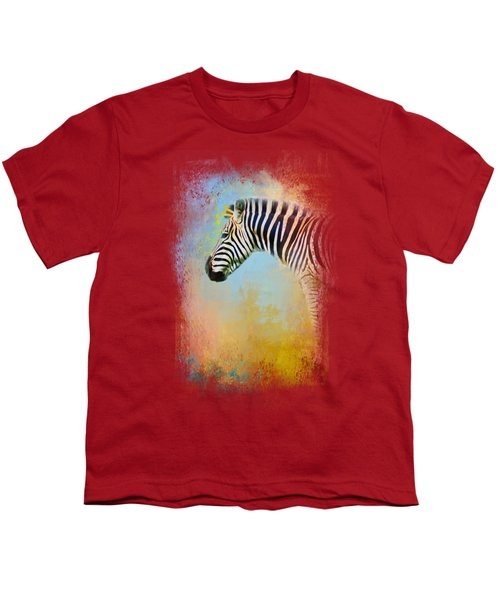 Colorful Expressions Zebra Youth T-Shirt by Jai Johnson