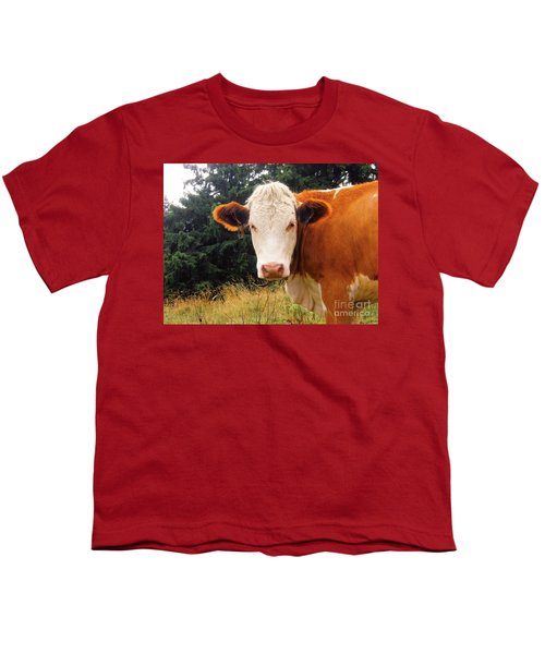 Youth T-Shirt featuring the photograph Cow In Pasture by MGL Meiklejohn Graphics Licensing