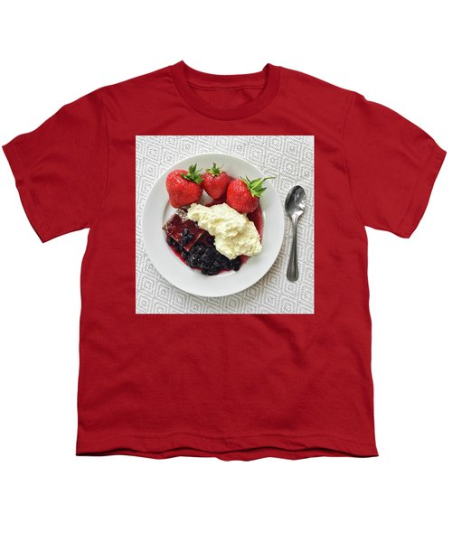 Dessert With Strawberries And Whipped Cream Youth T-Shirt by GoodMood Art