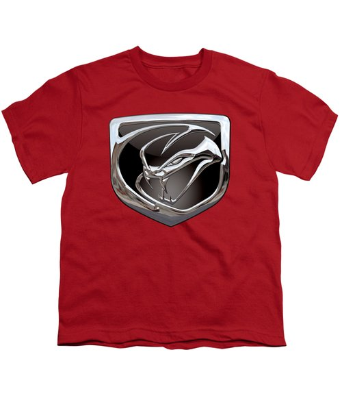 Dodge Viper - 3d Badge On Red Youth T-Shirt by Serge Averbukh