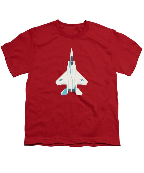 F15 Eagle Fighter Jet Aircraft - Crimson Youth T-Shirt