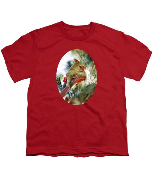 Female Northern Cardinal Youth T-Shirt by Christina Rollo