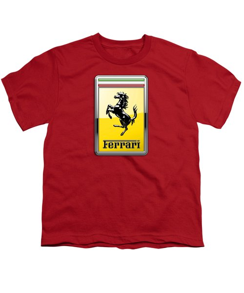 Ferrari 3d Badge-hood Ornament On Red Youth T-Shirt by Serge Averbukh