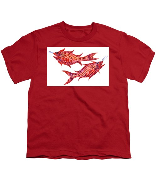 Fish Pisces Youth T-Shirt by Jane Tattersfield