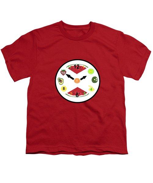 Food Clock Youth T-Shirt by Kathleen Sartoris