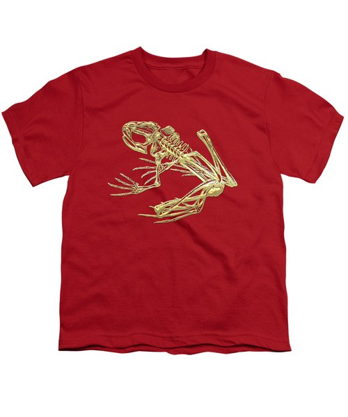 Frog Skeleton In Gold On Red  Youth T-Shirt